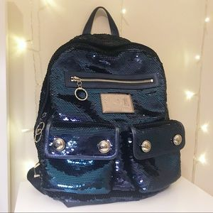 Coach Poppy blue sequin backpack bag